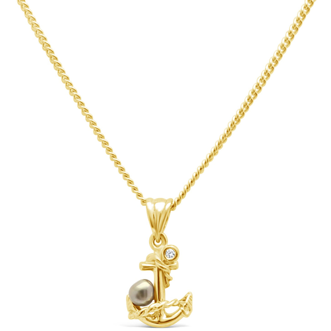 Abrolhos Keshi Pearl with Gold Anchor and Diamond