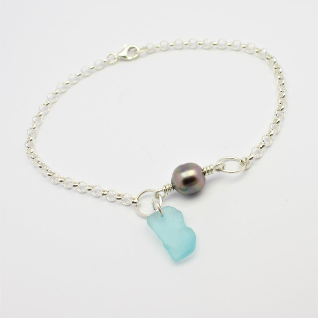 Silver Sea Glass Bracelet