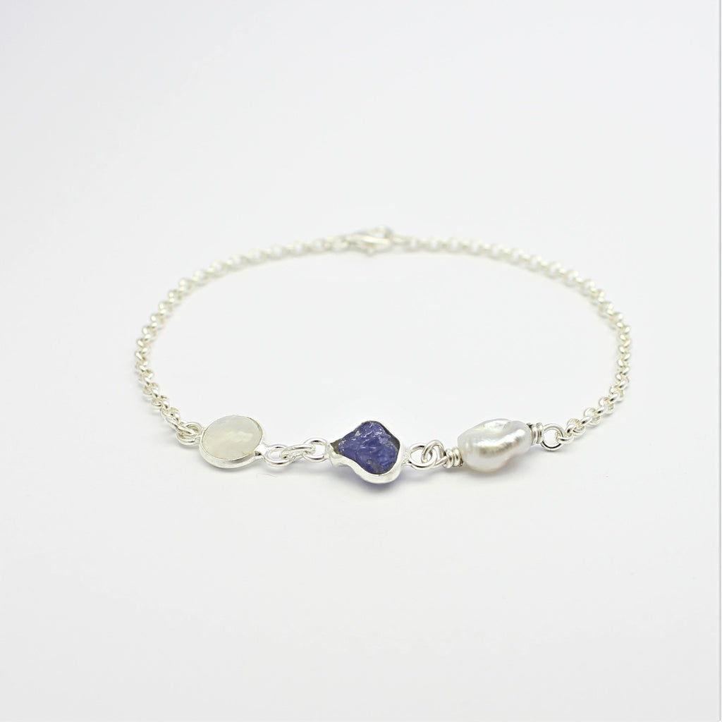 Abrolhos Pearl, Tanzanite and  Moonstone Bracelet