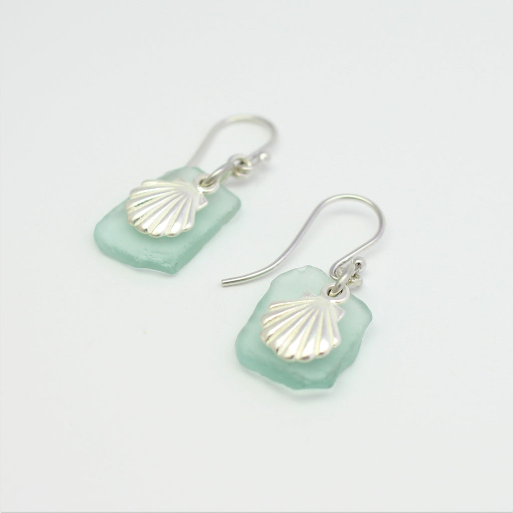 Silver Sea Glass Scallop Earrings