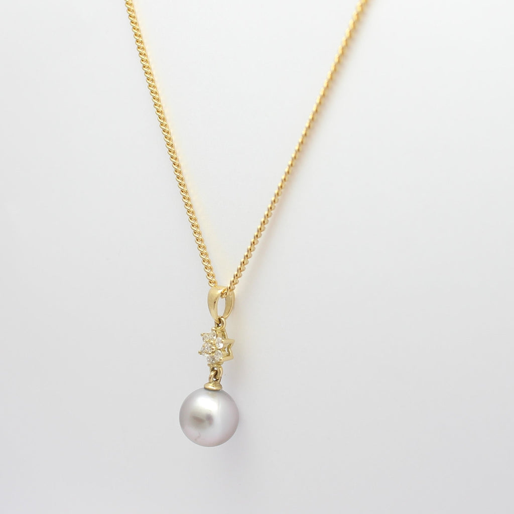 Diamond Flower and Pearl Pendant