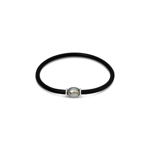 Abrolhos Pearl with Coral etch collars on neoprene bracelet