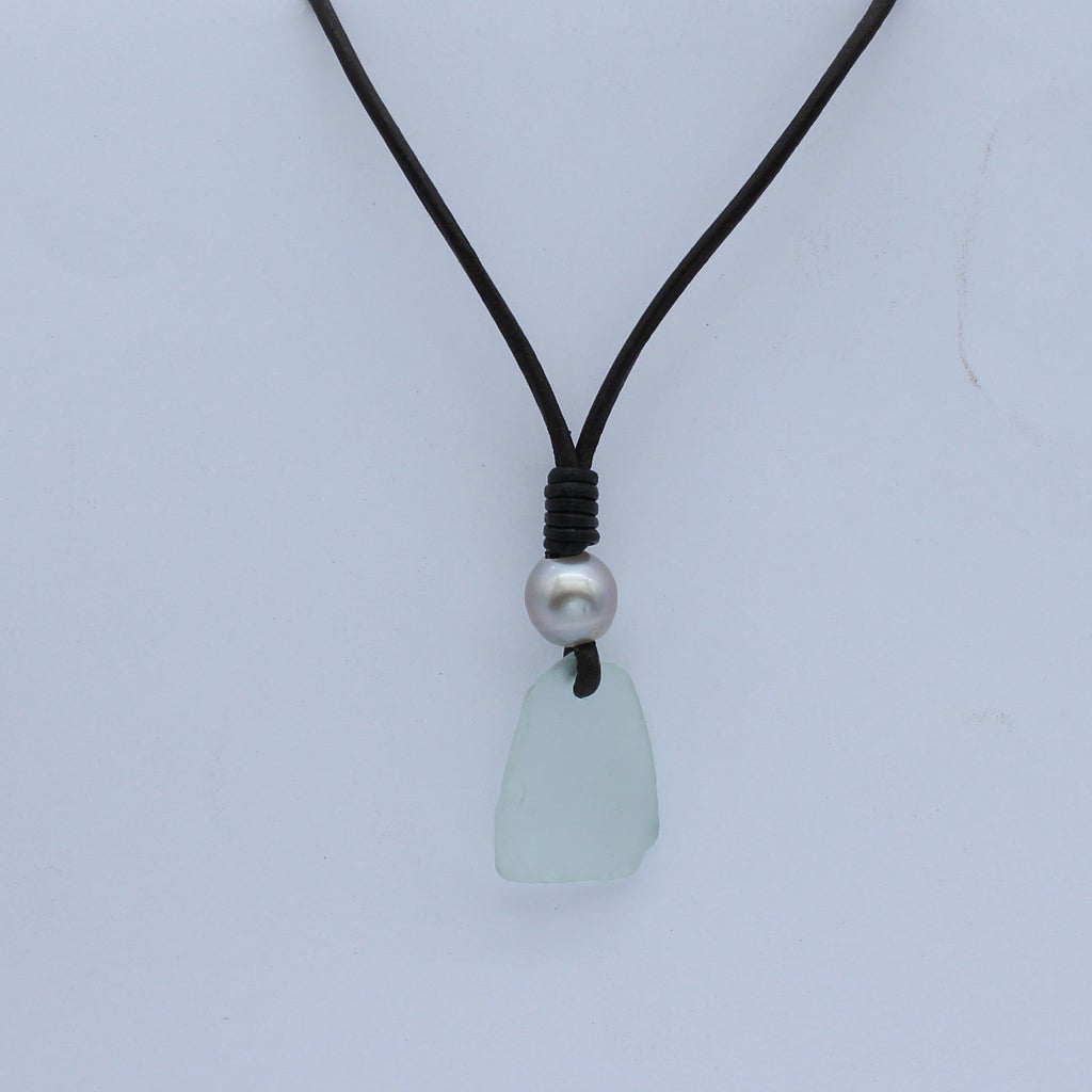 Light Green Sea Glass Leather and Abrolhos Island Pearl Necklace