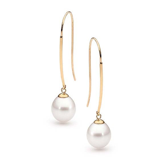 Long Pearl Hook Earrings Freshwater Pearl