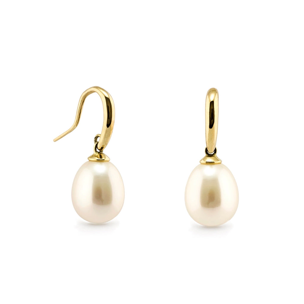 9ct YG Freshwater Pearl Shepherd Hook Earrings with White Pearls