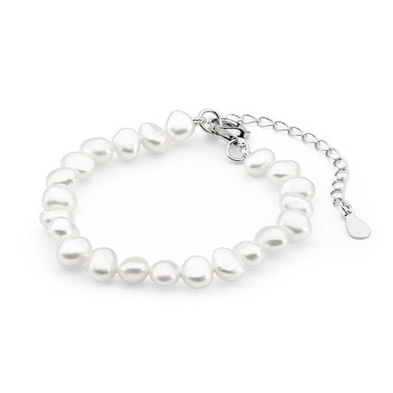 White Freshwater Keshi Pearl Child Bracelet