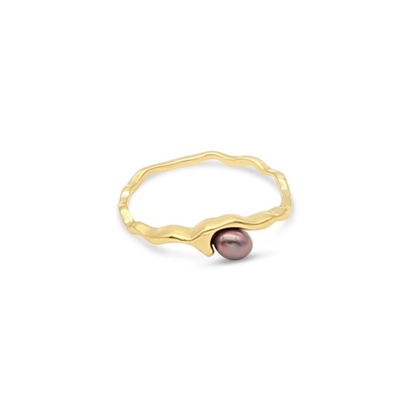 Island Bound Wave 9ct Gold Ring with Abrolhos Island Keshi Pearl