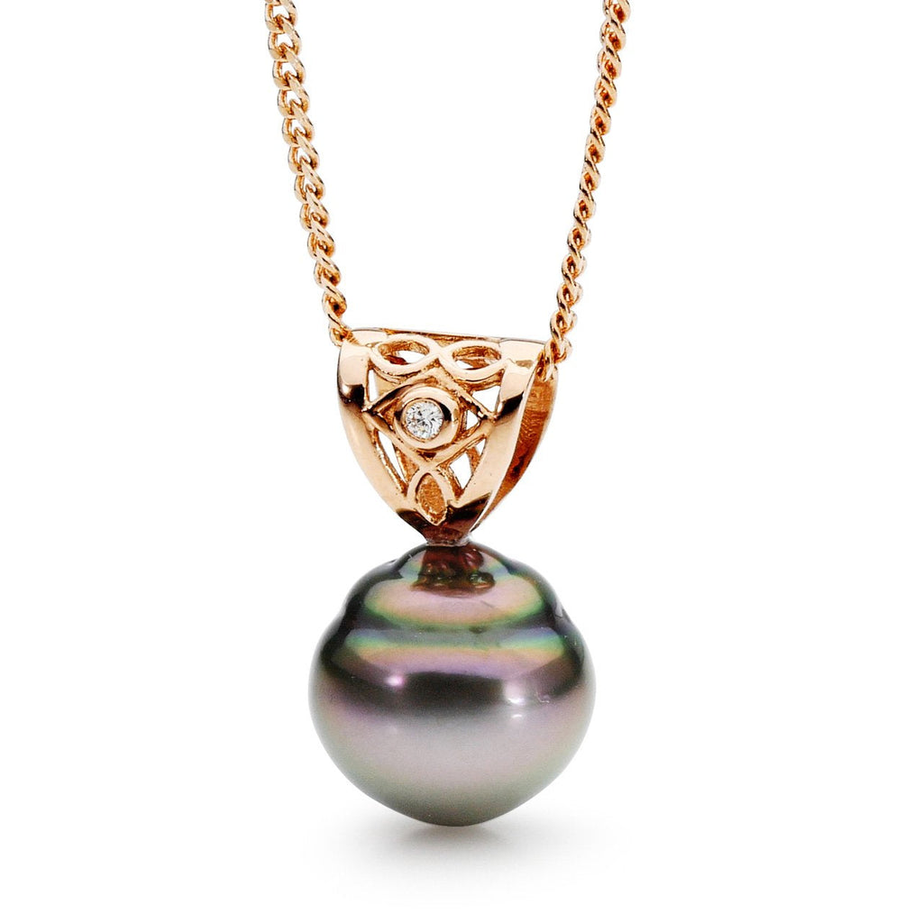9ct Rose Gold Diamond Moroccan Pendant