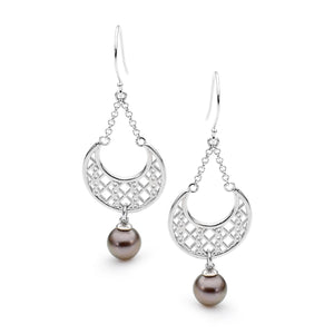Moroccan White Gold Pearl Earrings