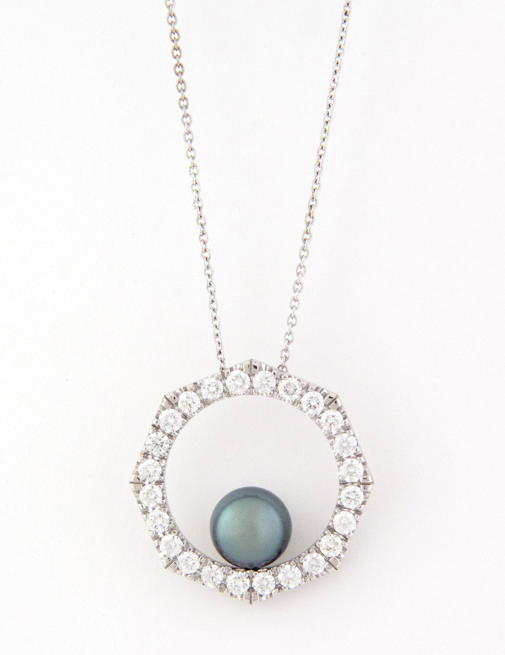 Octagon Diamond and Pearl Pendant