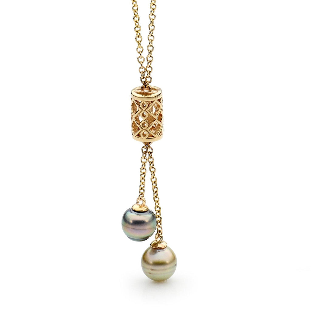Moroccan Two Pearl Pendant Yellow Gold