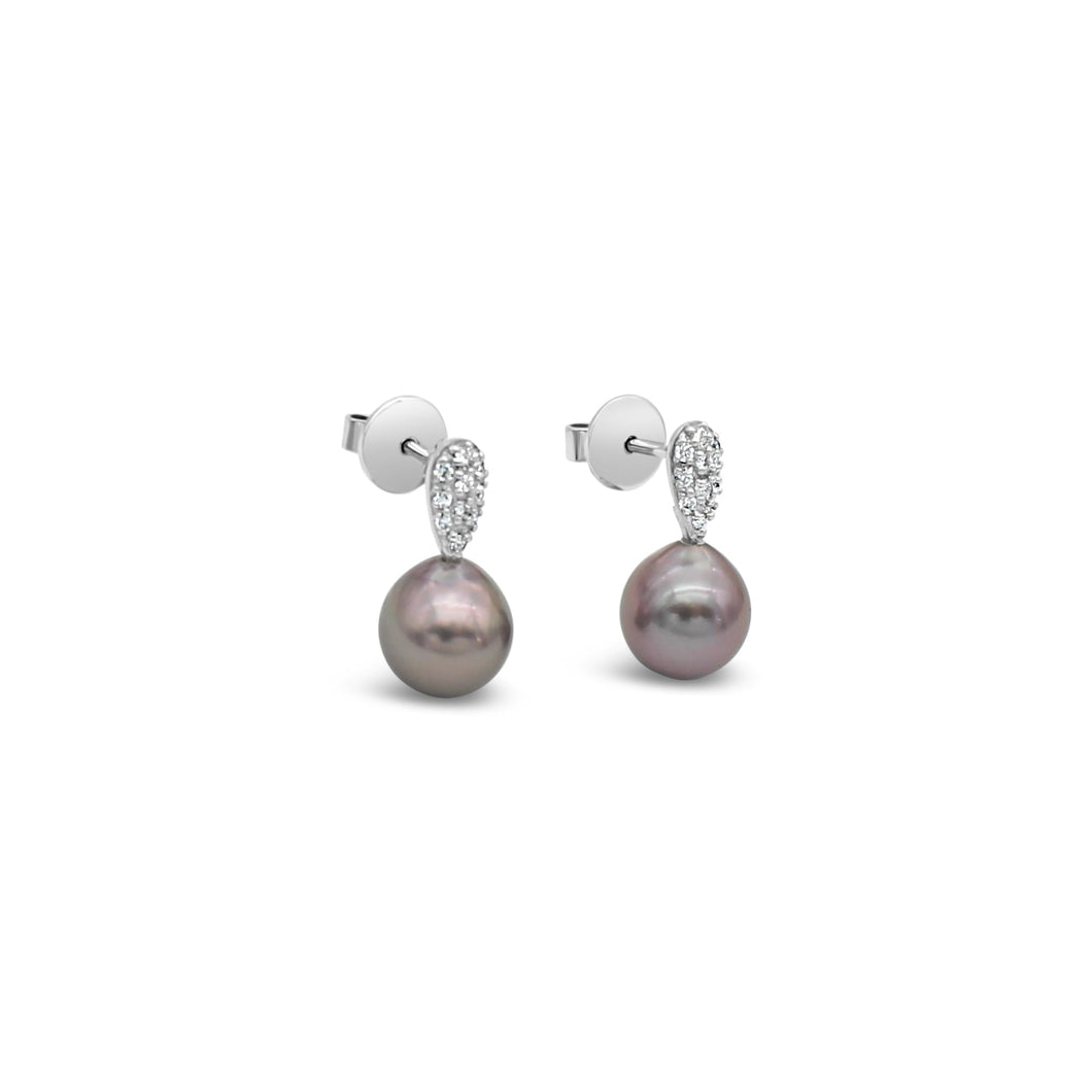 18ct White Gold Stud Drop Earrings featuring Abrolhos Island Black Pearls