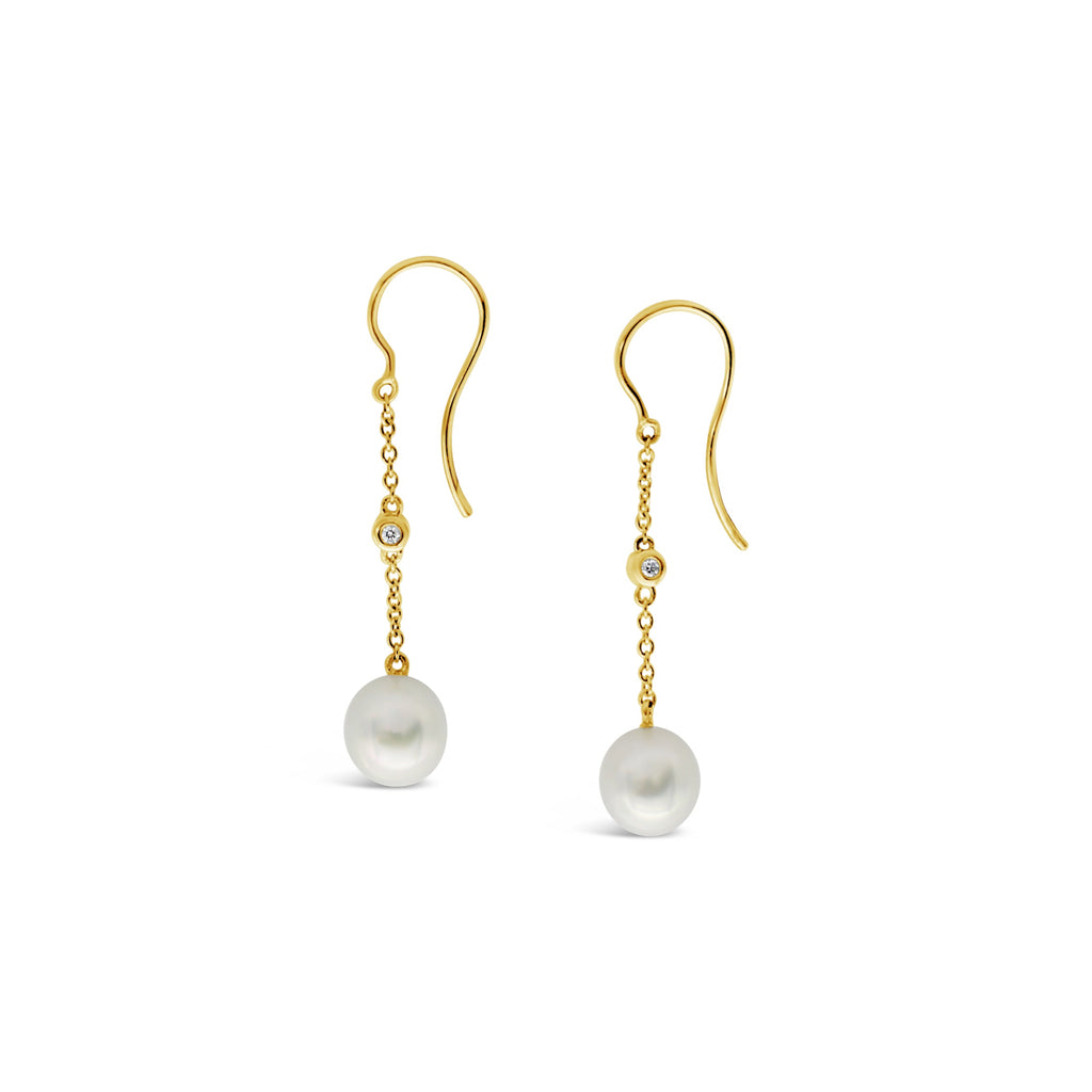 18ct Yellow Gold and Diamond South Sea Pearl Earrings