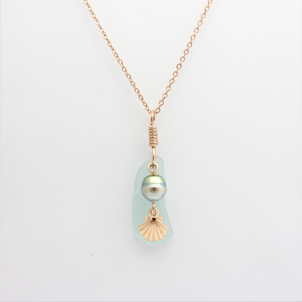 Rose Gold Scallop & Abrolhos Pearl Sea Glass Pendant