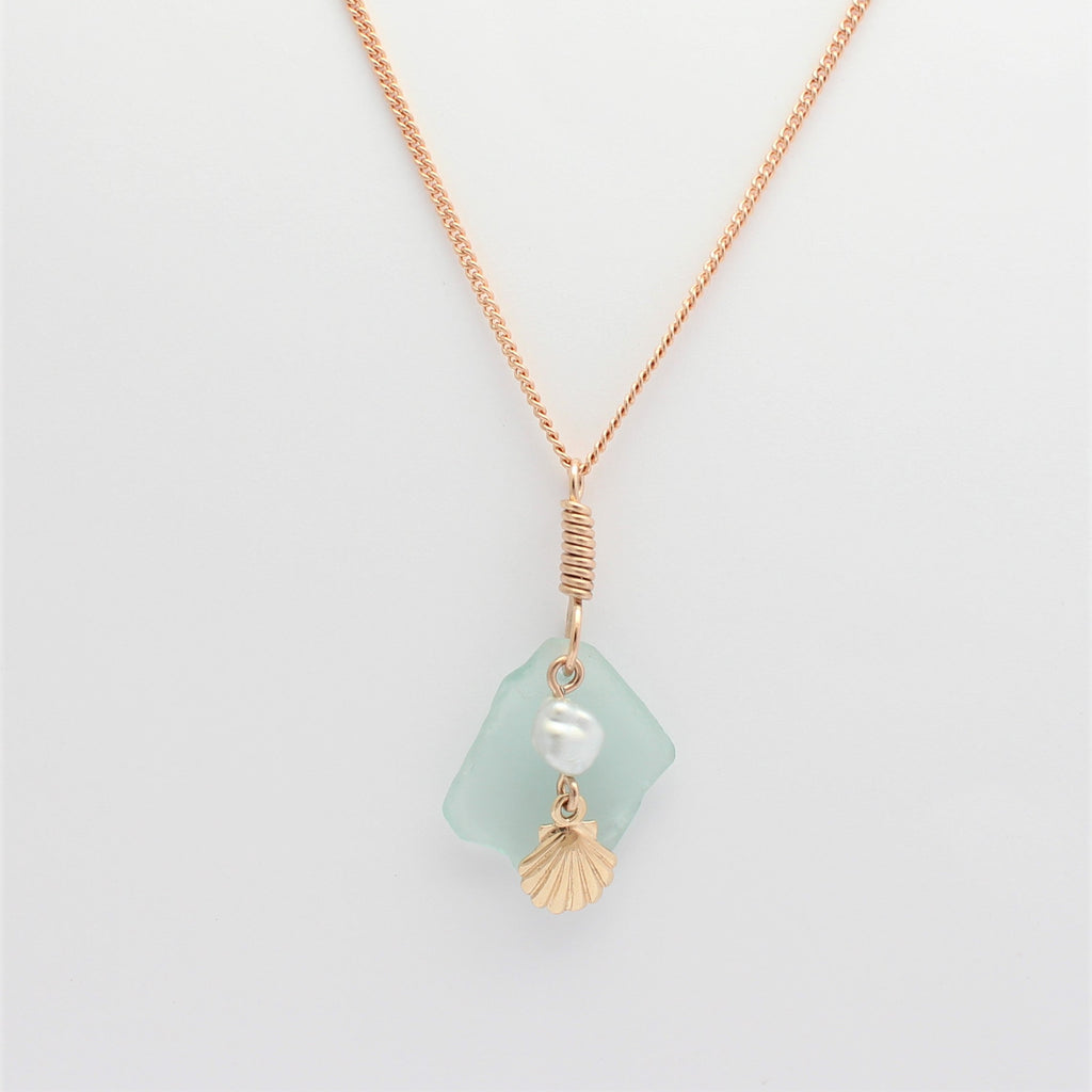 Rose Gold Scallop & Pearl Sea Glass Pendant