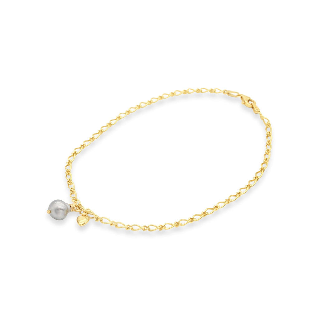 Yellow Gold Anklet Abrolhos Island Black Keshi Pearl with Heart Charm