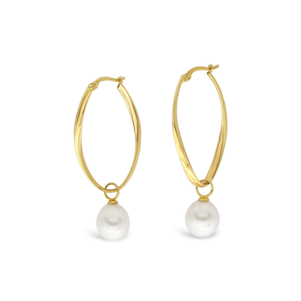 Slim Island Hoops with Interchangeable Pearls