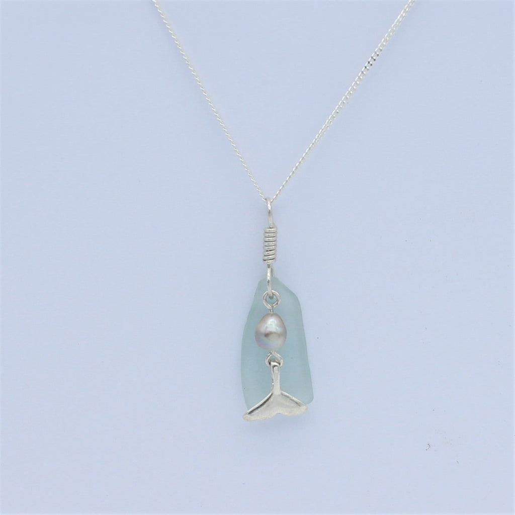 Silver Whale Tail Blue Seaglass Pendant