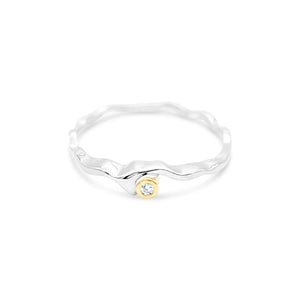 Island Bound Wave Silver Ring with 0.02ct Diamond in 9ct Yellow Gold