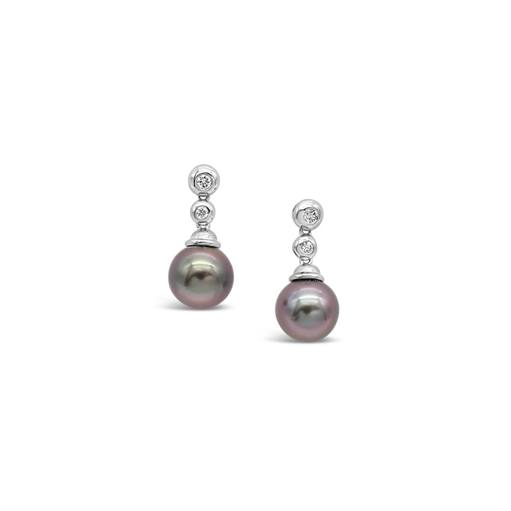 18ct White Gold Diamond Stud Drop Earrings featuring Abrolhos Island Black Pearls