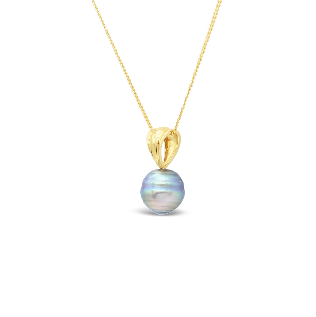 9ct Yellow Gold Ribbed V Pendant Abrolhos Island Black Pearl