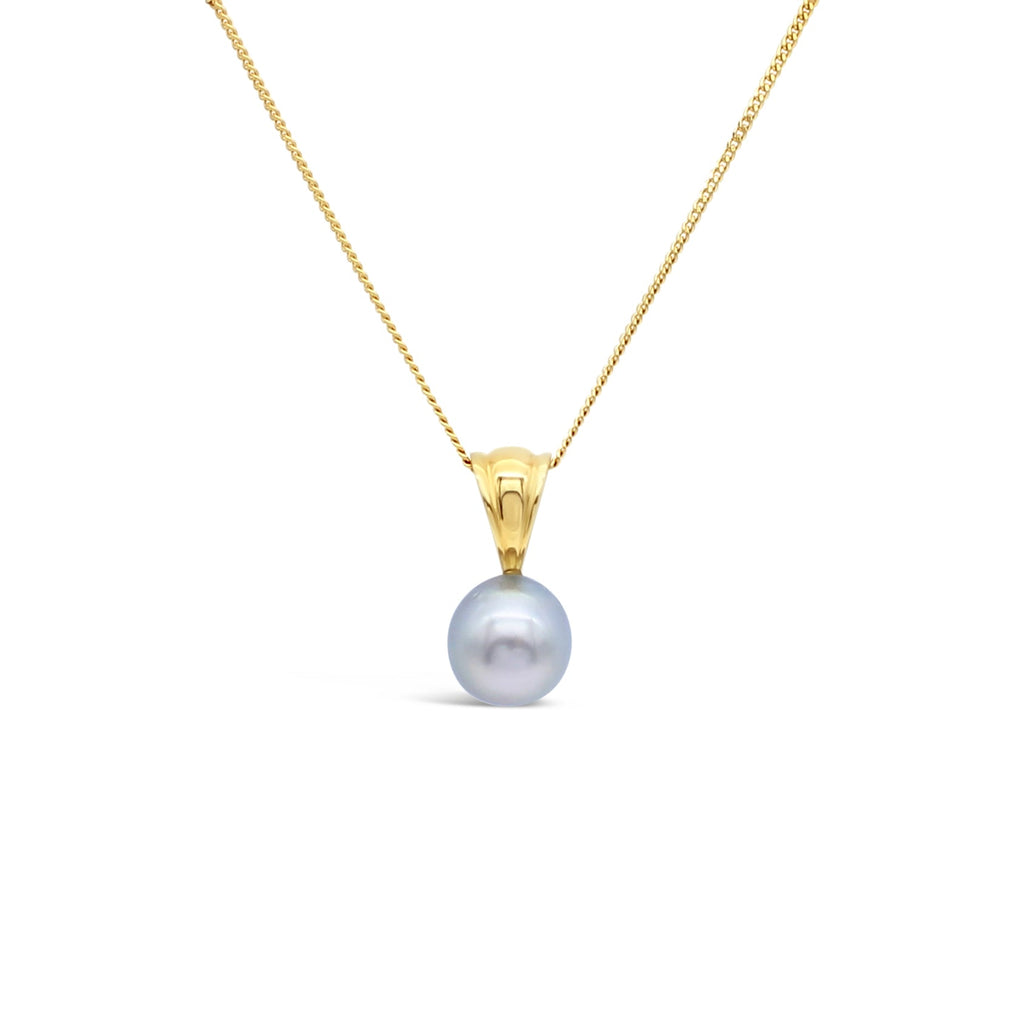 18ct Yellow Gold Tapered V Pendant on Abrolhos Island Black Pearl