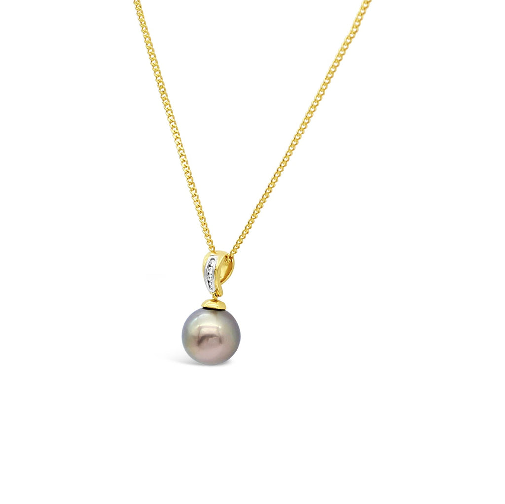 18ct Yellow Gold Pendant, Diamonds and Abrolhos Island Black Pearl