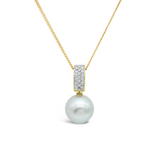 Load image into Gallery viewer, Moonlit Pendant 18ct diamonds and Abrolhos Island Black Pearl