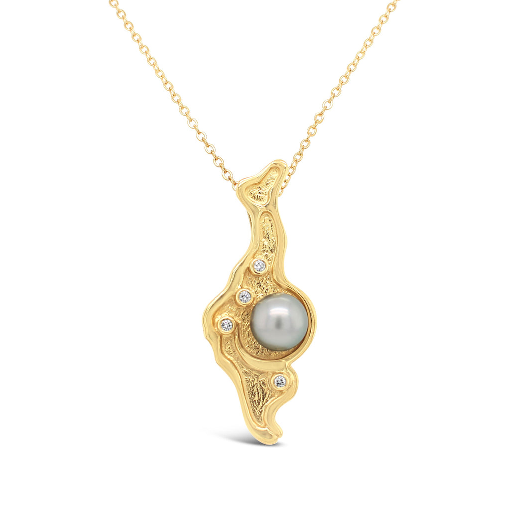 Island Bound Lagoon Pendant 9ct yellow gold solid with Diamonds and Abrolhos Pearl