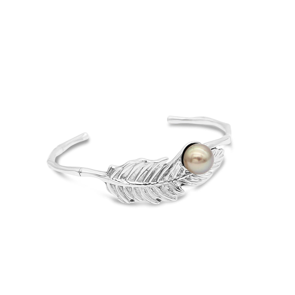 Feather Bamboo Cuff Bracelet Sterling Silver with Abrolhos Island Pearl