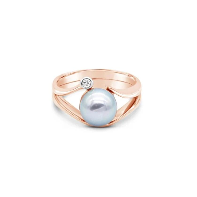 ROSE GOLD ISLAND BOUND SWIRL RING WITH ABROLHOS ISLAND BLACK PEARL