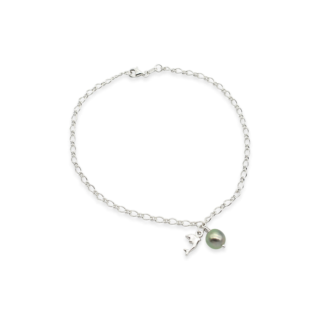 Sterling Silver Anklet with Dolphin charm and Abrolhos Island Black Pearl