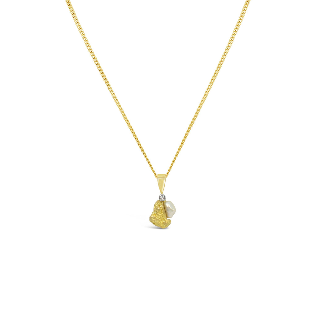 Australian Gold Nugget, Diamond and Abrolhos Island Pearl Pendant
