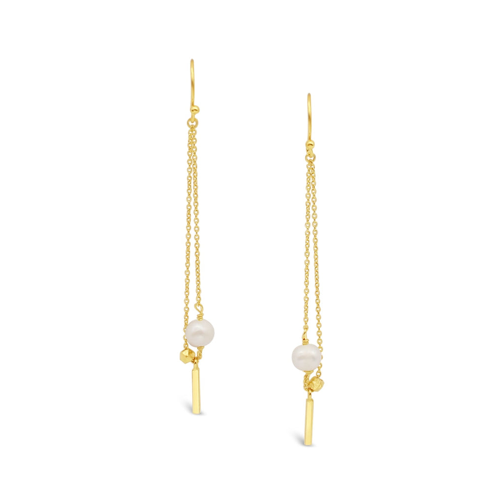 Sterling Silver Chain Earrings Freshwater Pearl Gold plated