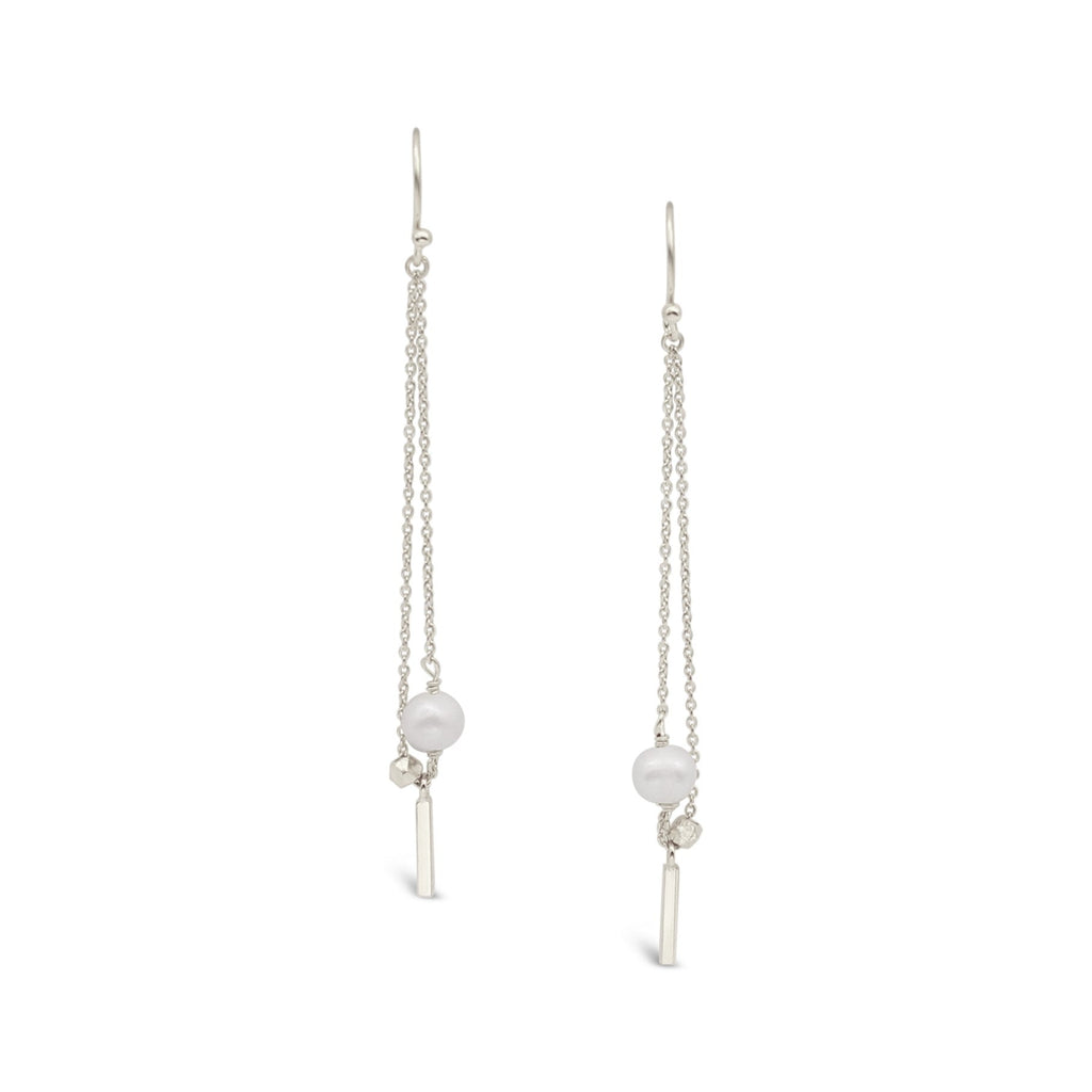 Sterling Silver Chain Earrings Freshwater Pearl