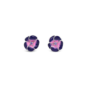 Latitude Amethyst Enamel Flower Earrings