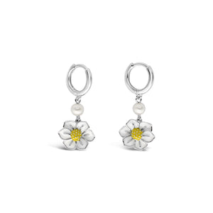 Latitude Enamel Flower and Pearl Earring