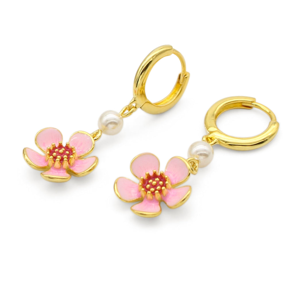 Geraldton Wax Enamel Flower Earrings