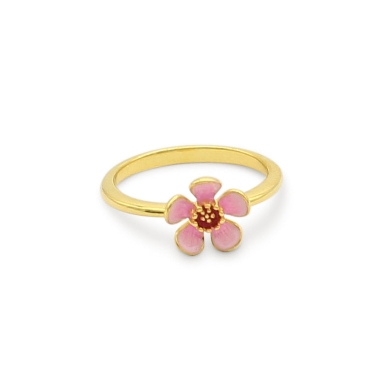 Geraldton Wax Enamel Flower Ring