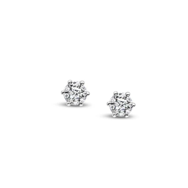9ct White Gold Diamond Flower Earrings TCW=0.178ct