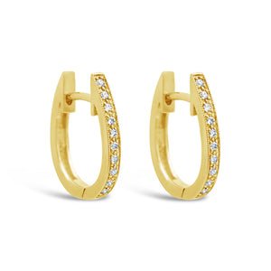 9ct Yellow Gold Oval Diamond Huggie Earrings