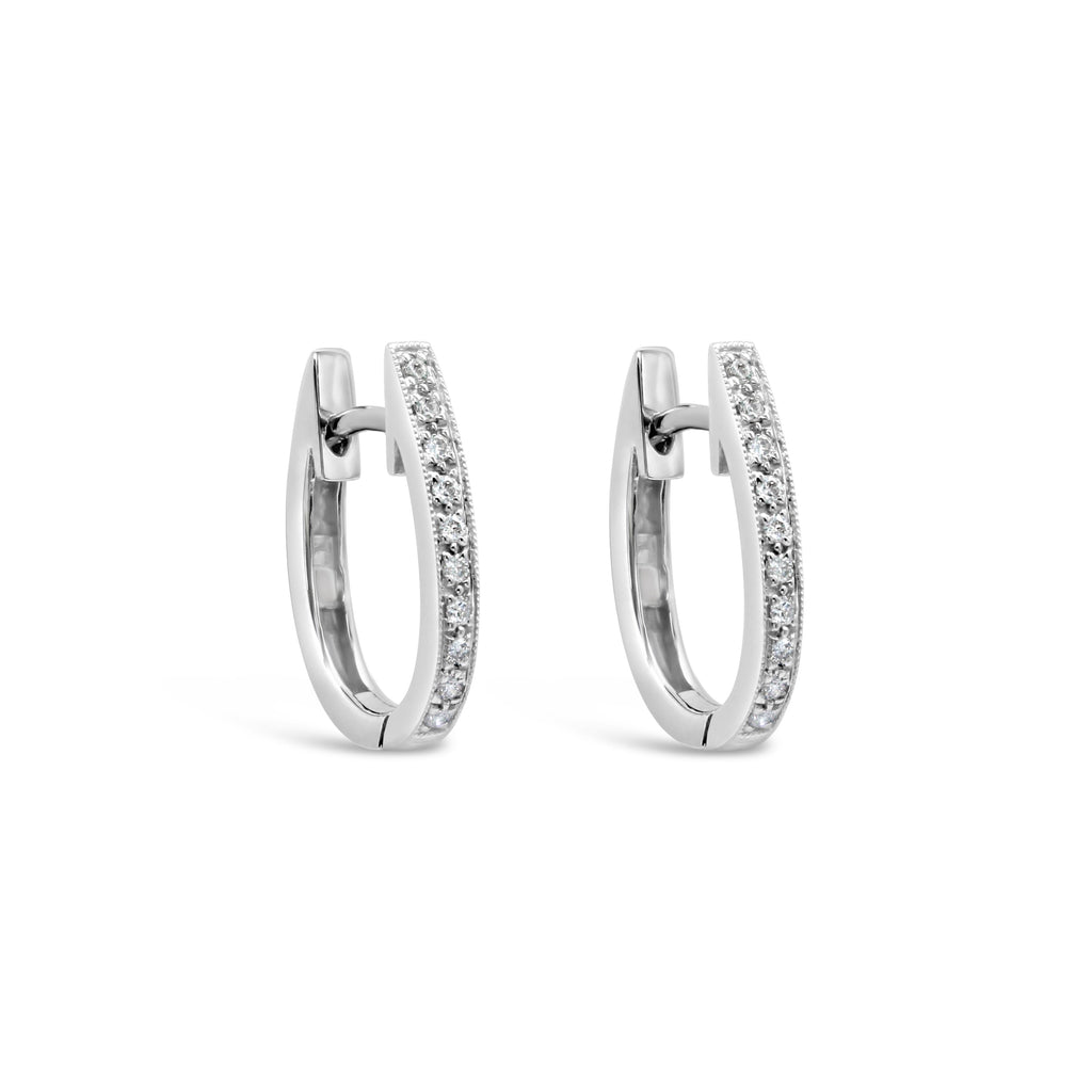 9ct White Gold and Diamond Oval Huggie Earrings