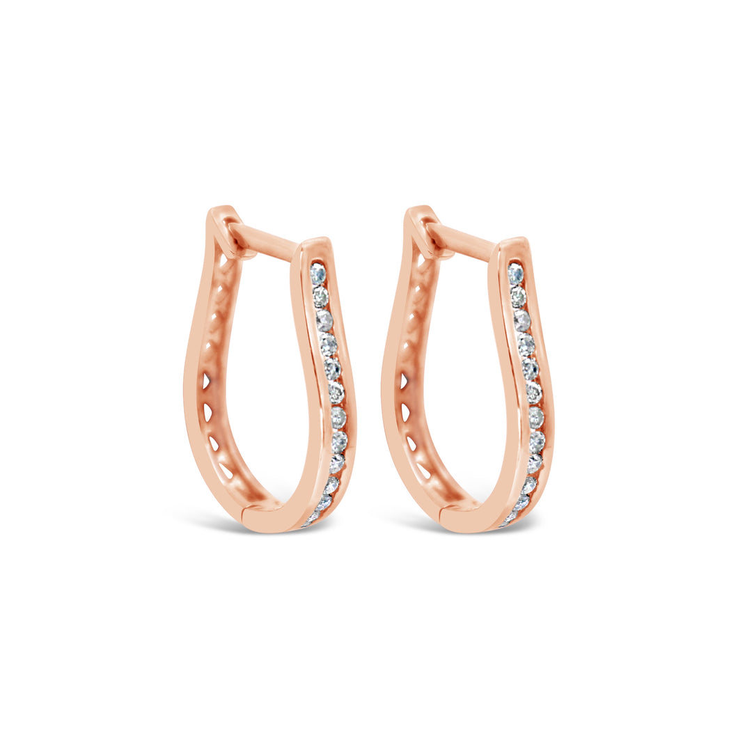 9ct Rose Gold and Diamond Harp Huggie Earrings