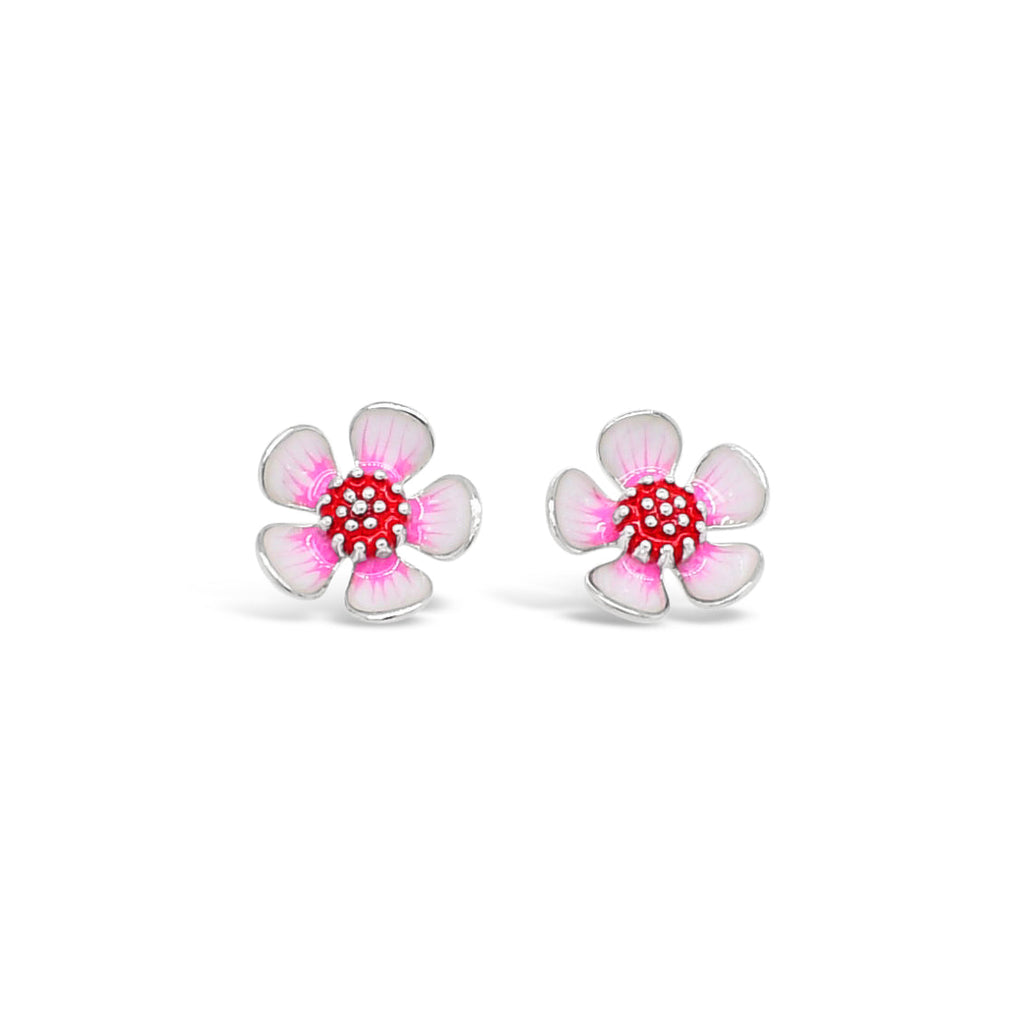 Geraldton Wax Enamel Flower Stud Earrings Sterling Silver