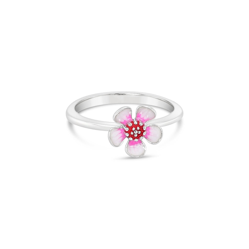 Geraldton Wax Enamel Flower Ring Silver