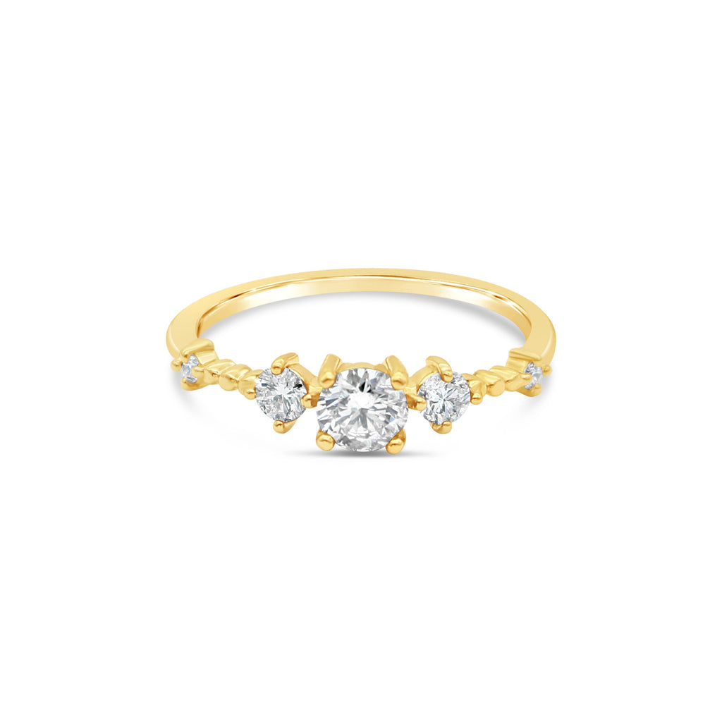 Stars Aligned Diamond 9ct Yellow Gold Ring by OLYV