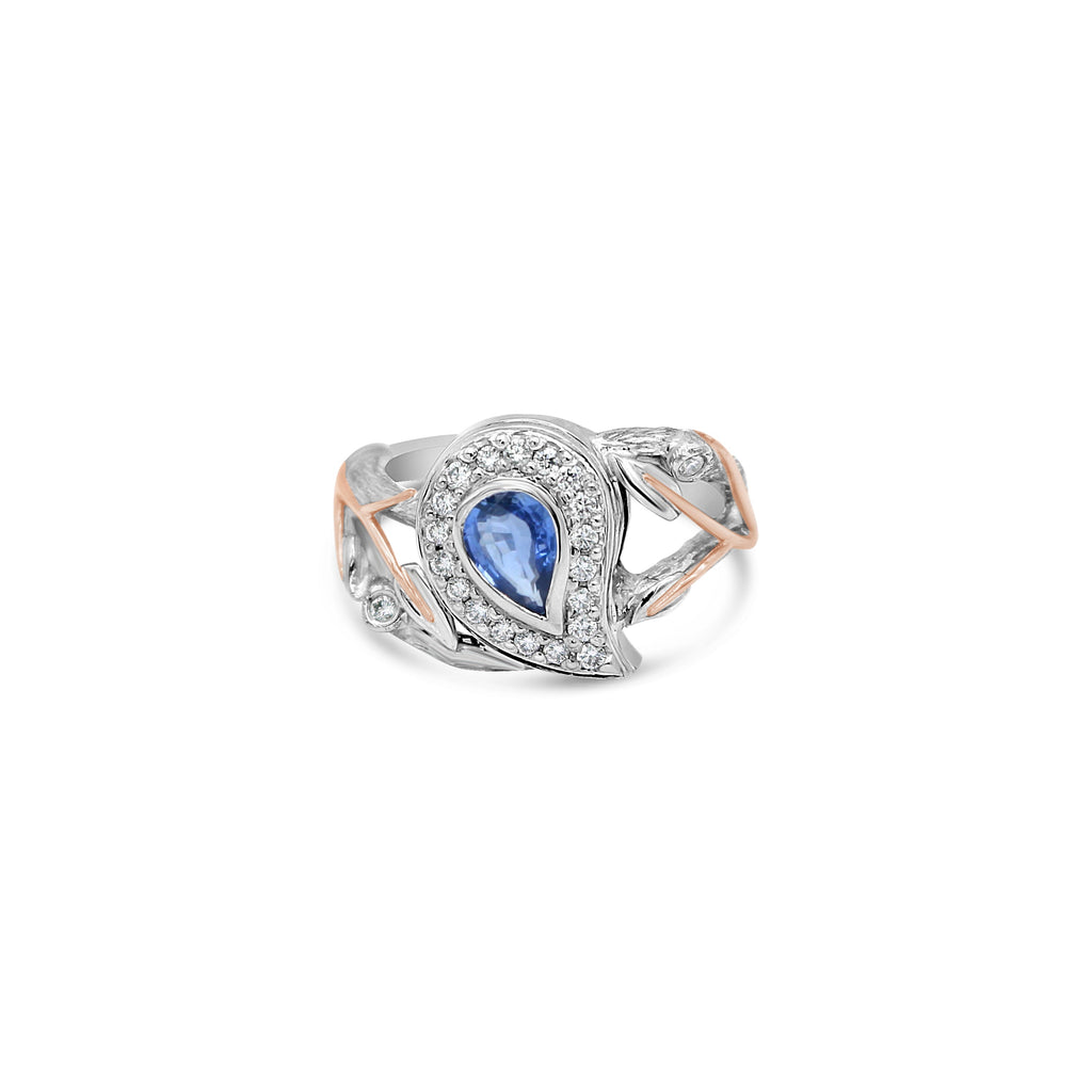 Pear Cut Sapphire and Diamond Ring