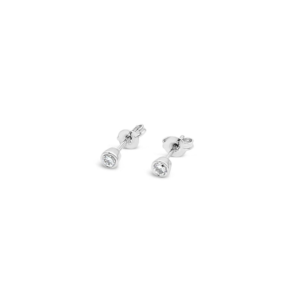 9ct White Gold Stud Earrings Bezel Set TCW=0.30ct