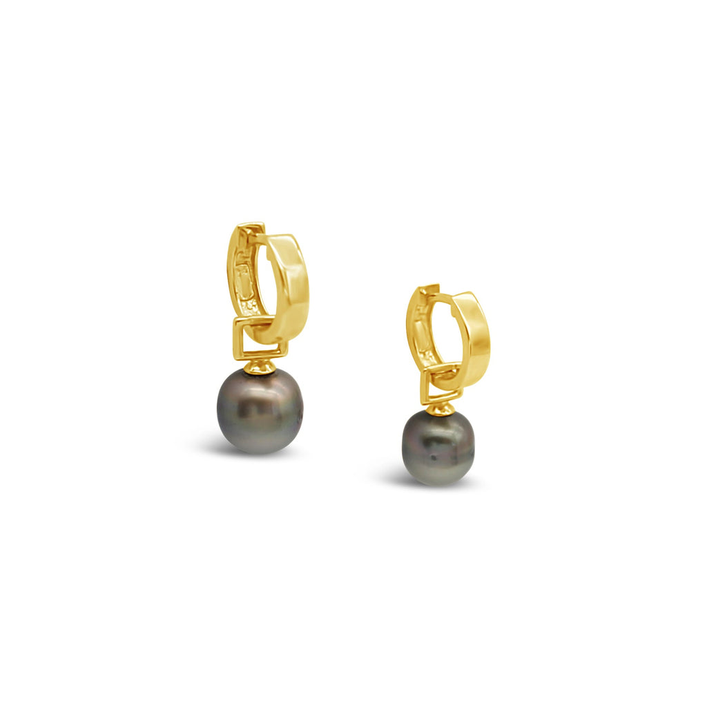 9ct Yellow Gold Huggie earrings featuring Abrolhos Pearls