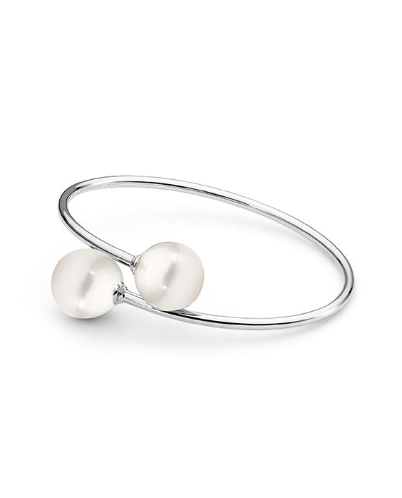 Double White Edison Freshwater Pearl Bangle